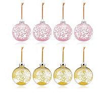 Home Reflections Set of 8 Pink & Yellow Star Sequin Baubles - 708936