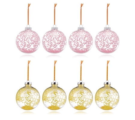Home Reflections Set of 8 Pink & Yellow Star Sequin Baubles