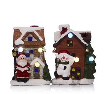 Santa Express Set of 2 Decorative LED Christmas Houses - 707237