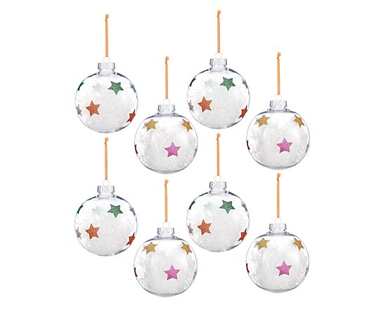 Home Reflections Set of 8 Tinsel Star Baubles