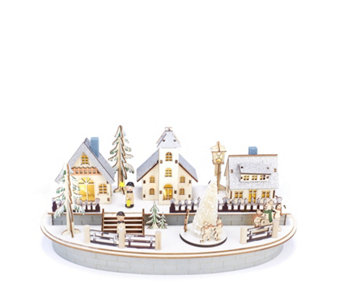 Wooden Musical Christmas Scene with LED Lights - 706039