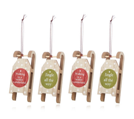 Home Reflections Set of 4 Hanging Sleighs