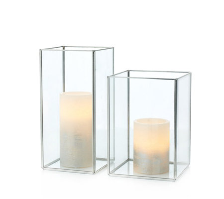 Alison Cork Set of 2 Square Lanterns with LED Candles