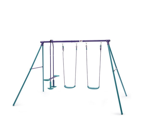 Plum Jupiter Metal Swing Set with Glider