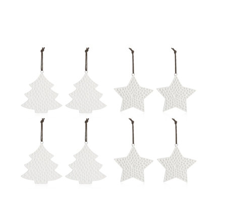 Outlet Home Reflections Set of 8 Porcelain Stars & Trees