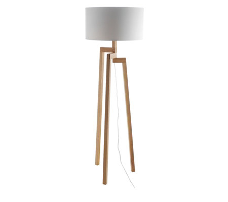 Habitat Dylan Ash Wood Floor Lamp Base with White Shade