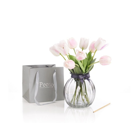 Peony Tulips in Glass Vase with Scent Stick in Gift Bag
