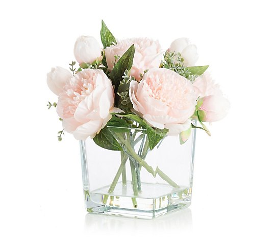 Peony Peonies In A Clear Cube Vase