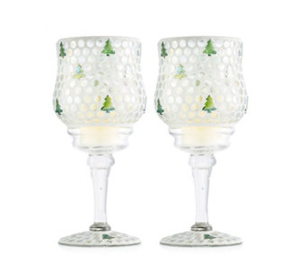 Home Reflections Set of 2 Christmas Tree Mosaic Stemmed Candle Holders - 707246
