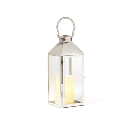 Alison Cork Stainless Steel Lantern with LED Candle