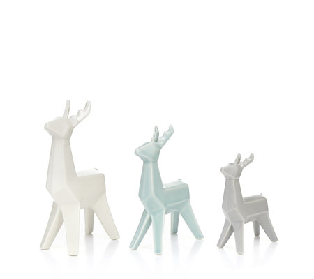 Home Reflections Set of 3 Stoneware Geometric Reindeer