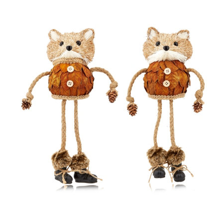 Home Reflections Set of 2 Dangly Leg Foxes