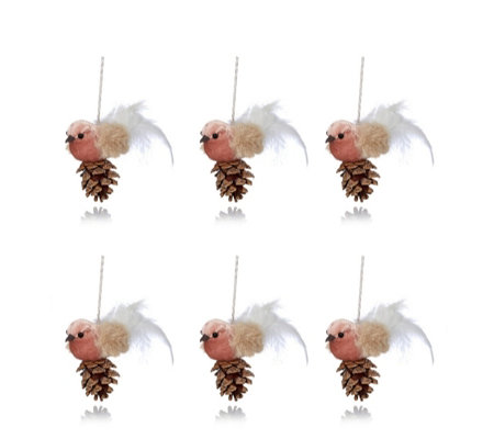 Home Reflections Set of 6 Velvet Bird Tree Decorations