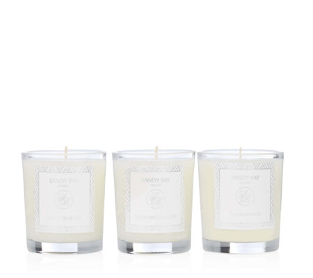 Sandy Bay Set of 3 Glass Votives In a White Gift Box
