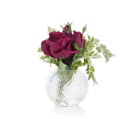 Peony Rose with Buds & Foliage in a Cut Glass Fish Bowl