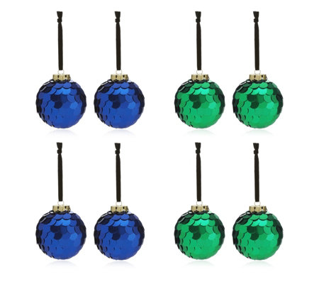 Alison Cork Set of 8 Blue & Green Sequin Baubles