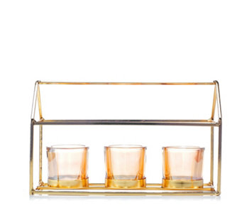 Home Reflections Votive Tray with Three Glass Holders - 705757