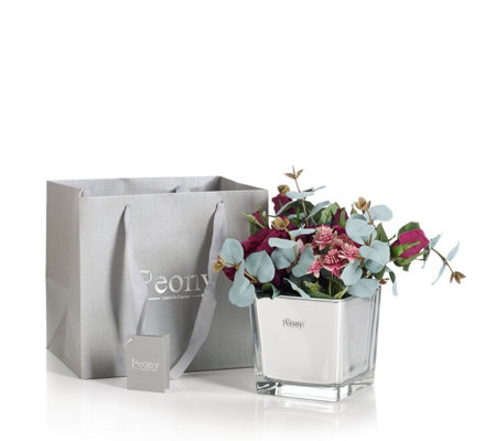 Peony Rose & Eucalyptus in a Cube with Gift Bag
