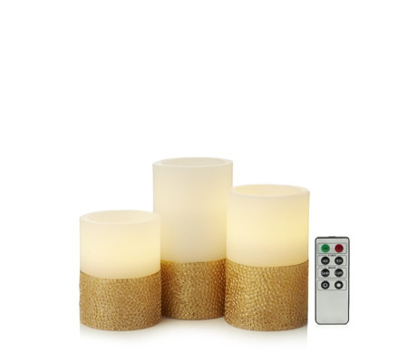 Alison Cork Set of 3 Gold Based LED Candles with Timer