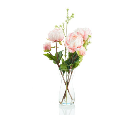 Peony Pink Peonies & Foliage in a Clear Bottle Vase