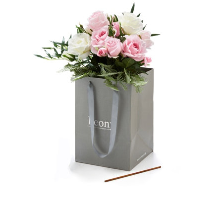 Peony Roses & Greenery in Vase with Scent Stick in Gift Bag