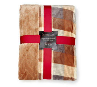 "Cuddl Duds Fleece Reversible Oversized Throw 60"" x 70"" - 707766"