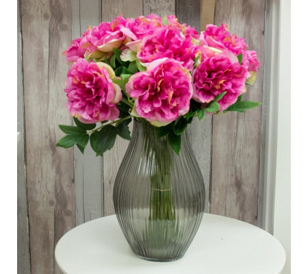 Peony Peonies in Smoked Optic Vase