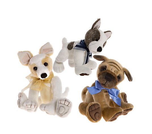 Charlie Bears Collectable Biscuit, Duchess & Mud Magnet the Dogs