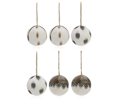 Home Reflections Set of 6 Feather Baubles