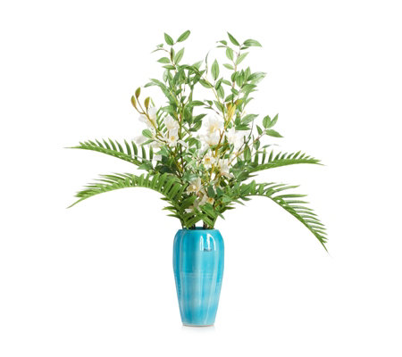 Peony Cymbidium Orchid & Palm in Teal Pot