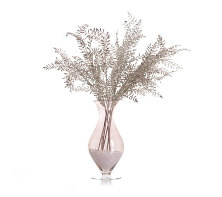 Peony Winter Branches in Ice Chips in Hourglass Vase