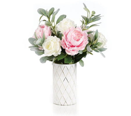 Peony Roses Peonies & Foliage in a Geometric Vase