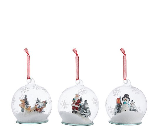 Santa Express Set Of 3 Snow Globe Scenic Glass Baubles