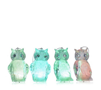Home Reflections Set of 4 Colour Morphing LED Owl Decorations - 707775