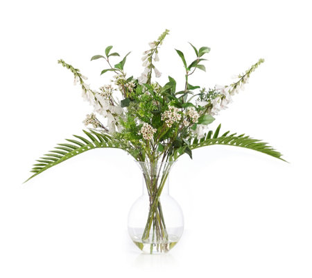 Peony Foxgloves Wallflower & Greenery in a Costal Bottle Vase