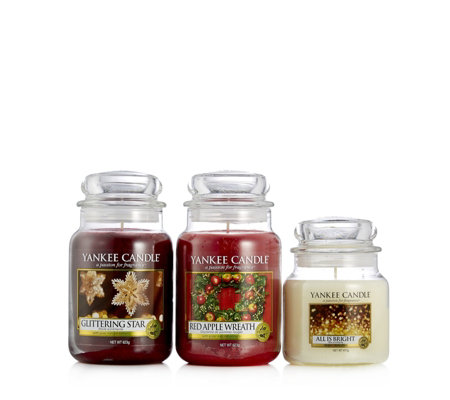 Yankee Candle 2 Large & 1 Medium Christmas Fragrance Jar Collection