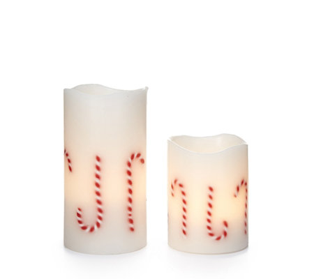 Santa Express Set of 2 Candy Cane LED Candles