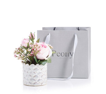 053a8e579 Peony Waxflower Eucalyptus   Rose in a Luster Pearl Pot - 709477