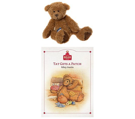 "Charlie Bears Collectable Tat & Book from Alice's Bear Shop 13"" Plush Bear"