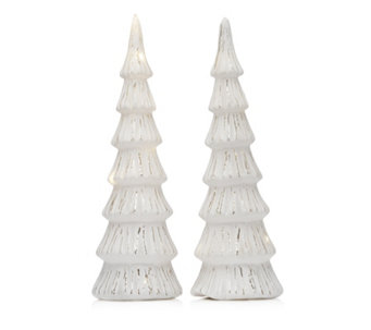 Home Reflections Set of 2 White Pre-lit Trees - 707778