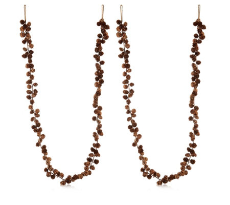 Home Reflections Set of 2 Pre-lit Mini Pinecone Garlands