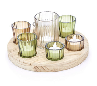 Home Reflections Circular Votive Tray with Holders & 5 LED Candles - 706679