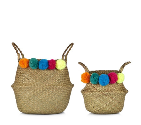 Erica Davies Set of 2 Weaved Belly Baskets with Pom Poms