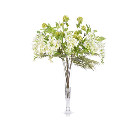 Peony Wisteria & Viburnum in Isobella Vase with Ice Chips