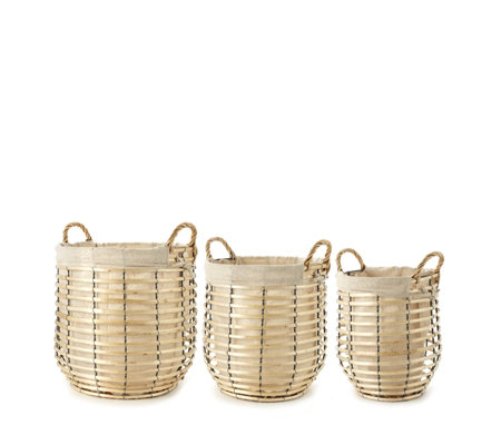 Set of 3 Wicker Baskets with Removable Liners