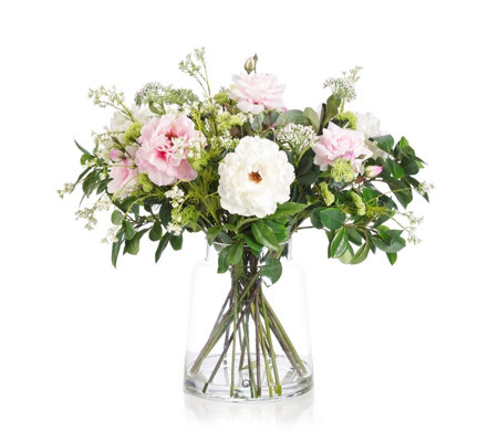 Peony Real Touch Peonies & Roses with Foliage in a Chimney Vase