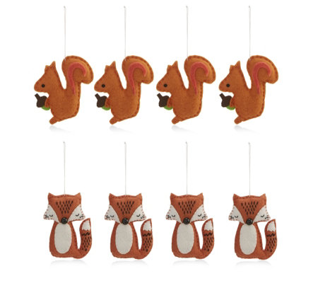 Home Reflections Set of 8 Felt Animal Decorations