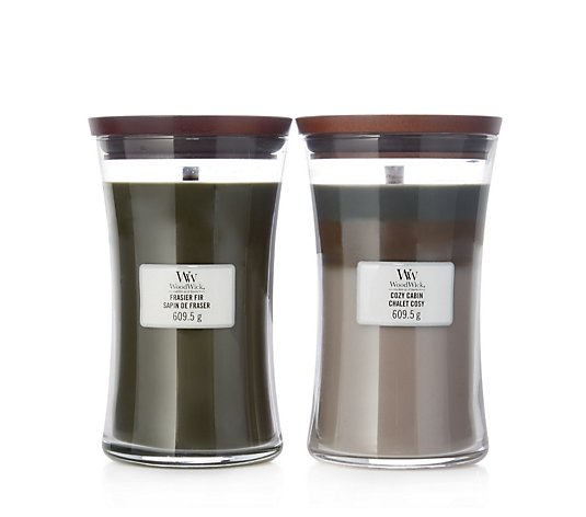 Woodwick Set of 2 Frasier Fir & Cosy Cabin Hourglass Candles