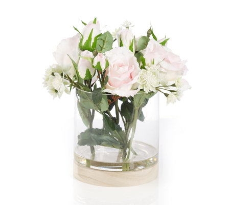 Peony Roses & Astrantia in Vase with Wooden Stand