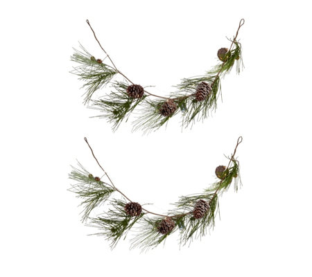 Alison Cork Set of 2 Pre-lit Pinecone Garlands
